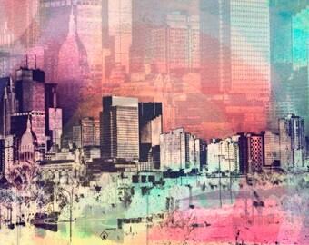 NEW, Minneapolis Skyline, digital photo, Minnesota, colorful, city,  wall art, home decor, Minnesota art, large wall art, big square photo