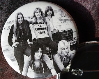 The Runaways band pin large pin badge  button  pinback buttons Joan Jett Lita Ford Cherie Curie