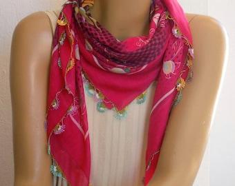 pink turkish scrarf, needle lace trim oya
