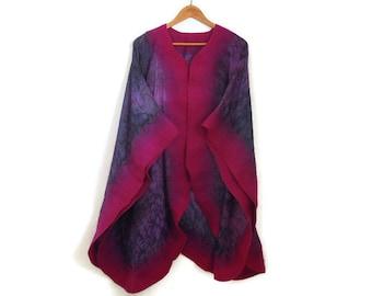 purple silk poncho with violet felted border, shawl