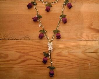 crochet necklace, burgundy tulip flower turkish oya