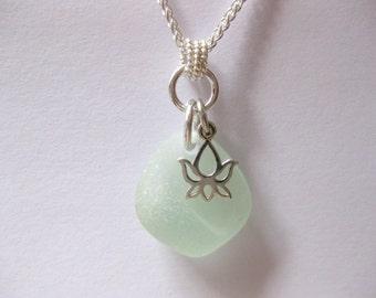 Seaglass Pendant - Lotus Jewelry Yoga Jewelry Handmade, Custom Jewlery