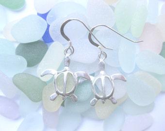 SS Sea turtle  Earrings - Sterling Silver Earrings sea turtle jewelry drop dangle earrings Handmade Custom Jewelry