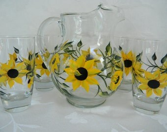 Glasses with Sunflowers, Sunflowers, pitcher with sunflowers, painted beverage set, pitcher and glasses set