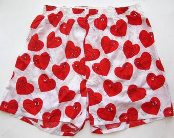 Vintage 50s Mens Novelty Print Valentine's Day Cotton Boxer Shorts 40