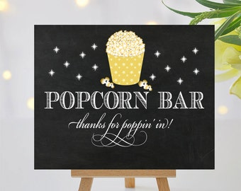 Fancy Popcorn Bar Sign - Printable Signage - Thanks for Poppin In - 8x10 and 5x7 -  Instant Download