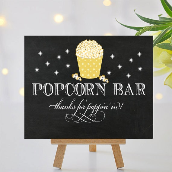 Fancy Popcorn Bar Sign Printable Signage Thanks For Poppin