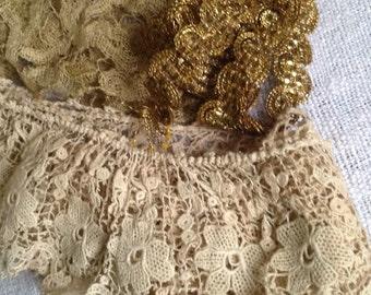Antique Laces & Golden Braid, Metallic Bobbin Lace. Floral Lace Flounce, French Supplies 3pc