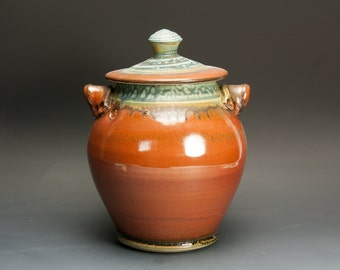 Handcrafted pottery canister cookie jar kitchen storage jar brick red  3009