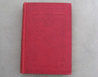 Vintage Book, Les Miserables, Victor Hugo, Antique red, no date, Thomas Nelson