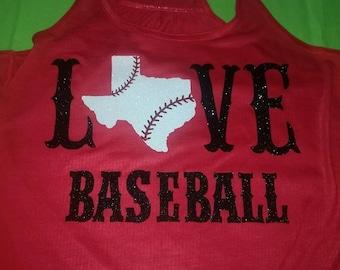 Love State Baseball Shirt, Love Baseball Shirt, State Baseball Shirt, Baseball Mom Shirt, Baseball Tank, Texas Baseball Shirt, State Shirt