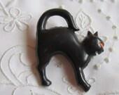 Vintage Halloween Black Cat Plastic Pin Made in Taiwan