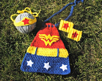 Wonder Woman Cap, Crown & Wristlets Super Hero Comic Photo Prop