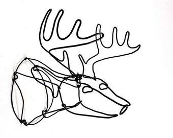 Deer Head Wire Sculpture, Trophy Buck Deer, Deer Art, Deer Sculpture, Minimal Sculpture,