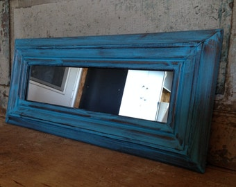 Mirror Wood Frame Turquoise Distressed