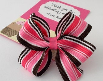 Cupcake Birthday Party Favors, Pink and Brown Hair Bow on a Personalized Thank You Card, Handmade in Atlanta, GA