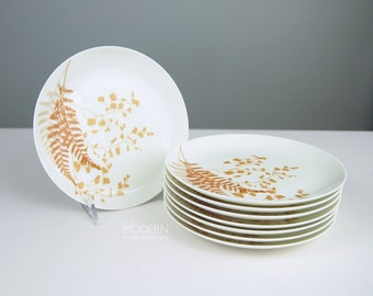 8 Vera Mikasa Narumi Lacy Fern Brown Japan Bone China Salad Plates