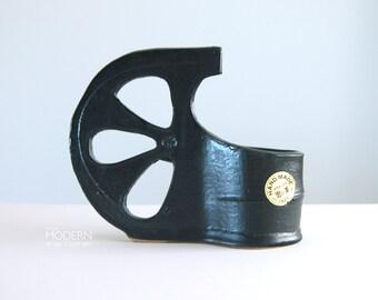Toyo Japanese Modern Black Half Wheel Ikebana Cup Planter