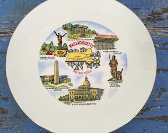 Vintage Souvenir Plate Massachusetts