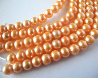 Freshwater Pearls Large Hole Orange Round  9mm  Full Strand 24 Pearls