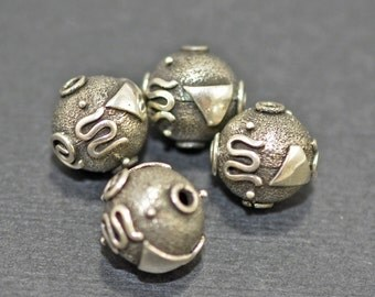 Sterling silver patterned beads, 13mm - #1900