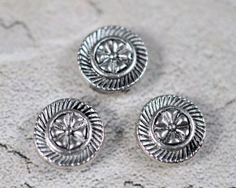 Bali style silver spacers, 2 hole, round, 13mm, #312