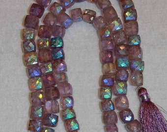 AB, AB Pink Amethyst, Cube Bead, Pink Amethyst Cube, Faceted Cube, Amethyst, Natural Stone, Gemstone Bead, Semi Precious, Half Strand, 8mm