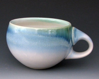BLUE STONEWARE CUP #1 -  Blue Ceramicc Cup - Coffee Cup - Pottery Cup - Cappuccino Cup - Studio Pottery