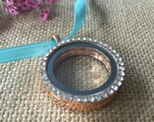 Bouquet Photo Charm in Rose Gold with Rhinestones