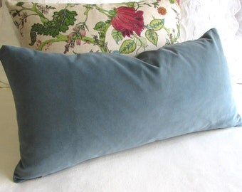 WEDGEWOOD blue velvet lumbar rectangular bolster pillow 13x26