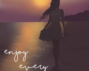 Beach Art -Sunset Art - Summer Art- Summer - Enjoy Every Sunset - Art for Women - Inspirational Art