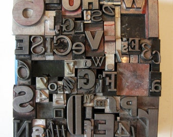 SALE Mixed Metal Letterpress Type Vintage Altered Art Home Decor Printing