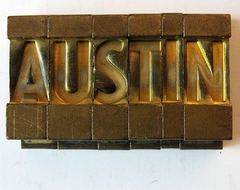Vintage Ludlow Mats Matrices Brass AUSTIN Tempo Bold Condensed 60 pt Printing Type