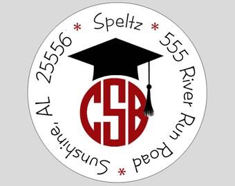 Monogram Graduation Personalized Address Labels