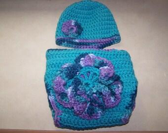 Aqua Purple Flower Hat Diaper Cover Set Photography Prop