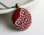 Red Pendant Necklace, Red Boho Jewelry, Red Lace Necklace, Red Necklace, White, Red Jewelry, Cute, Round, Unique Necklace for Women, Gift