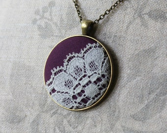 Purple Boho Jewelry, Eggplant Wedding, Fabric And Lace Jewelry, Anniversary Gift, Cotton Necklace, Purple Bridesmaid Necklace, Large Pendant