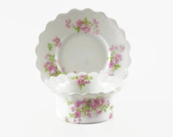 Antique Porcelain Ramekin Set, Ramekin Bowls, Rose Floral, MZ Austria, Set of Four