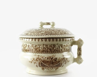 Antique Transferware Chamber Pot, Vintage Ironstone Pot, Brown and White, Aesthetic Design, Sylvan Pattern