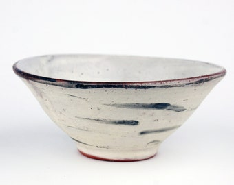 White Bowl with Black Horizontal Brush Marks