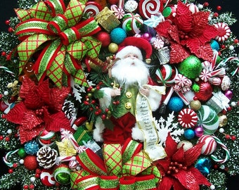 Christmas Santa Clause Holiday Wreath