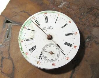 Pocket Watch VINTAGE Pocket Watch Parts Porcelain FACE Jewels Guts Mechanical Movements Plates Gears Watch Repair Jewelry Supplies (D246)