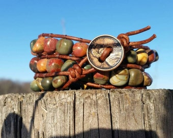 River jasper leather triple wrap bracelet lucky penny clasp soft brown leather off the beadin path neosho