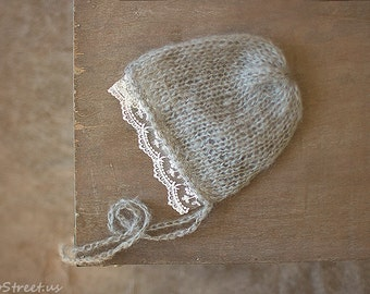 Baby Girl Hat, Baby Bonnet, Lace Newborn Hat, Baby Girl Lace Hat, Bonnet, Ivory lace, Gray Mohair Hat, Newborn Props, RTS, Vintage Baby Hat