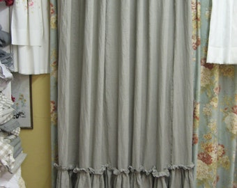 Ruffled Shower Curtain-Washed Linen in Flax---Bath Linens Made to Order-Artisan Style Washed Linens for your Home