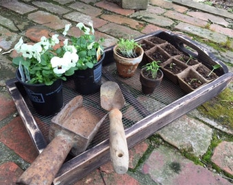 French Design Garden Flat----Nursery Flat---Garden Tray---Garden Plant Tray-Distressed Wood and Metal Screen Tray-