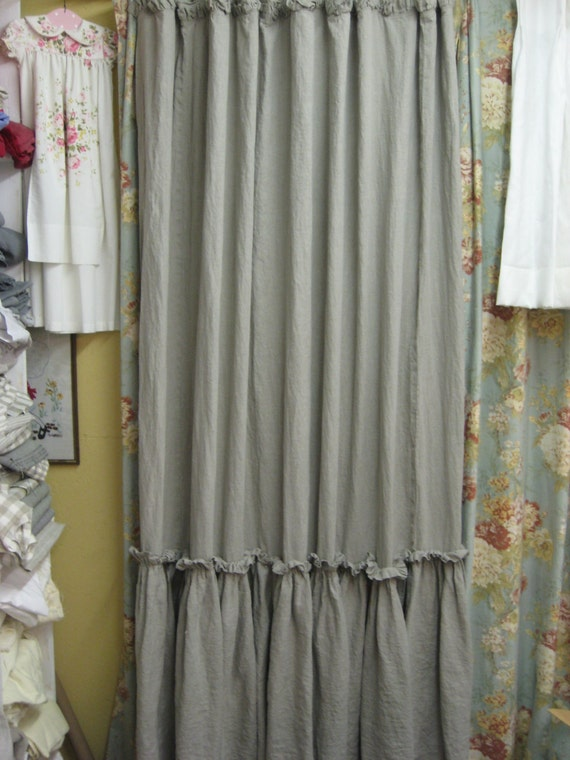 Ruffled Shower Curtain Washed Linen In FlaxBath Linens Made