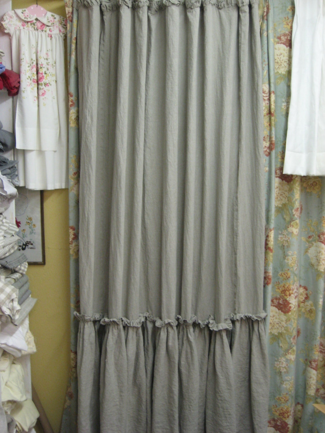 Ruffled Shower Curtain Washed Linen In Whitebath Linens