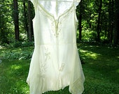S/M upcycled linen tunic top prairie summer shirt cottage chic artsy eco boho top, size small/medium by Lily Whitepad