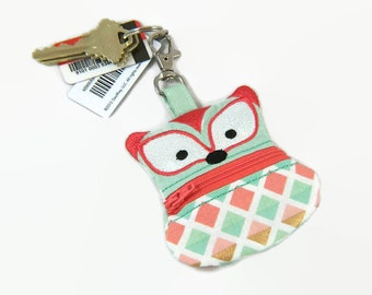 Fox Coin Pouch, Clip On Coin Pouch, Zippered Coin Purse, Arrow Coin Pouch, Keychain Pouch, Backpack Keychain, Change Purse, Ear-bud holder